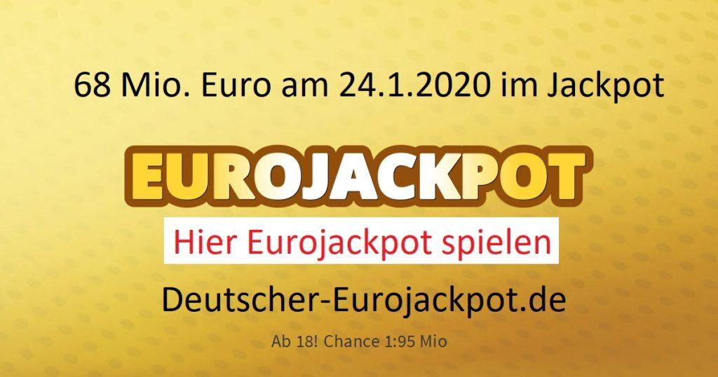 Eurojackpot 24.1.2020 für Freitag