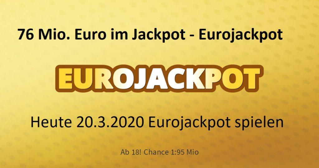 Gewinnzahlen Eurojackpot 20.3.2020