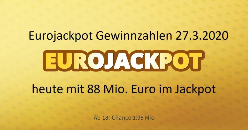 Eurojackpot 27.3.2020